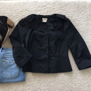 {Anthropologie} Black Petal Collar Jacket